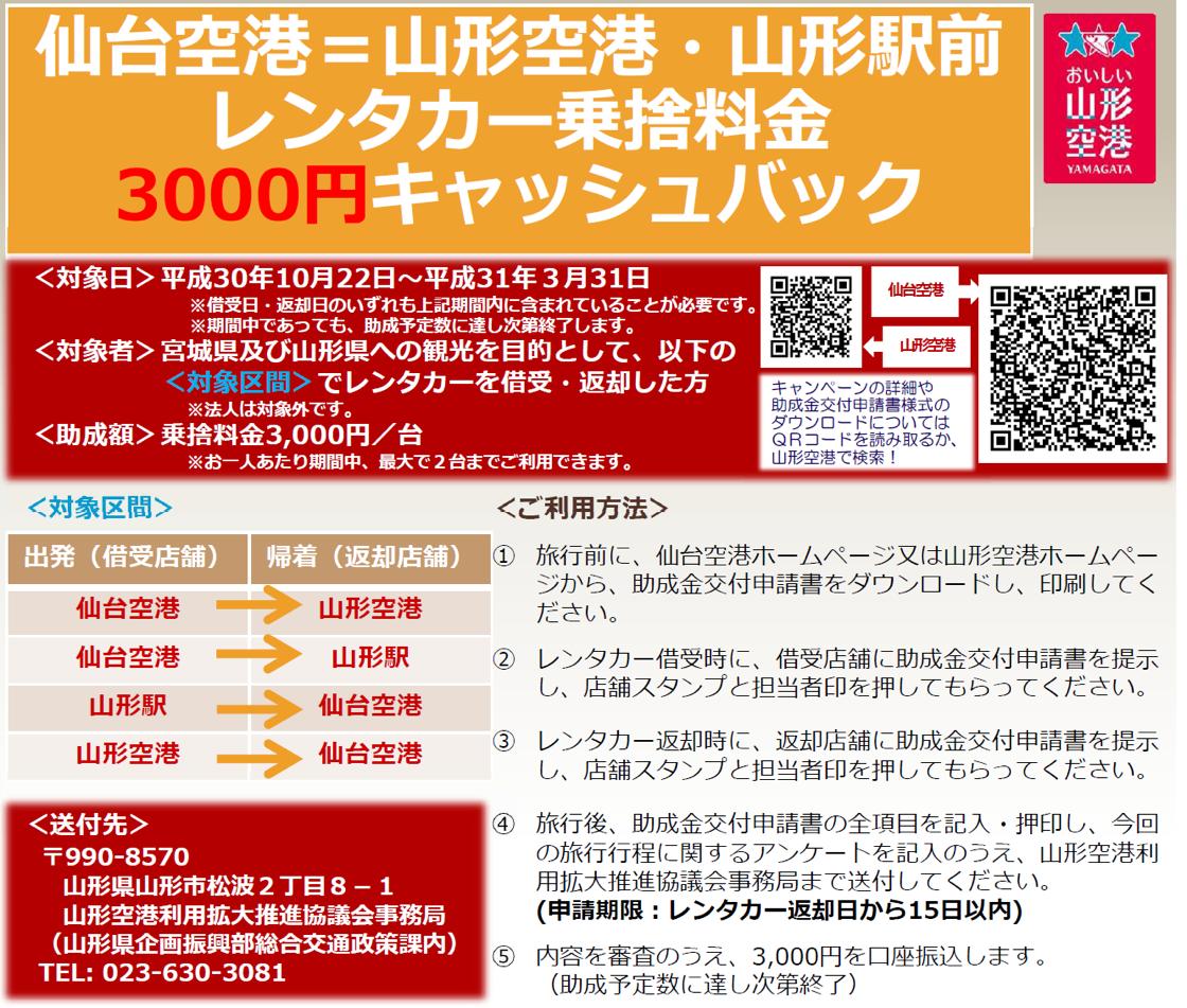 山形空港=仙台空港 レンタカー乗捨料金キャッシュバック!